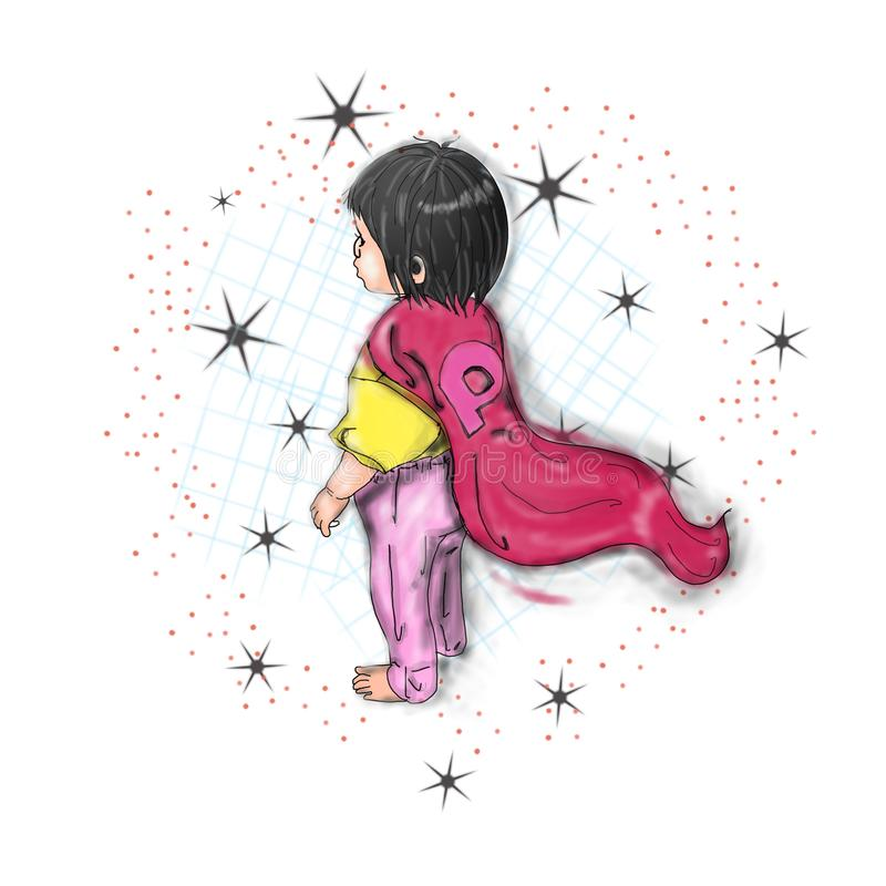 Cute little girl pink miracle stock images