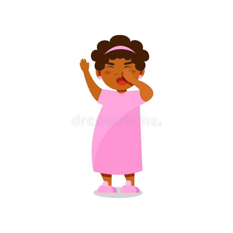 Cute little girl in pink pajamas yawning vector Illustration on a white background royalty free illustration