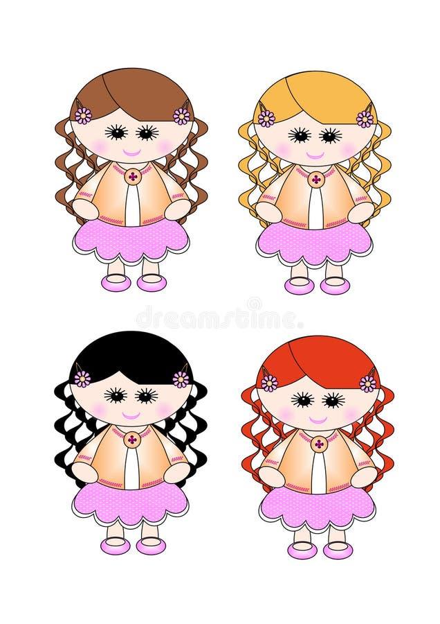Cute Little Girl Pink Skirt - Curly Hair 4 Shades