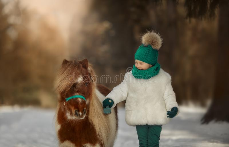 Cute Little girl with pinto pony stock image