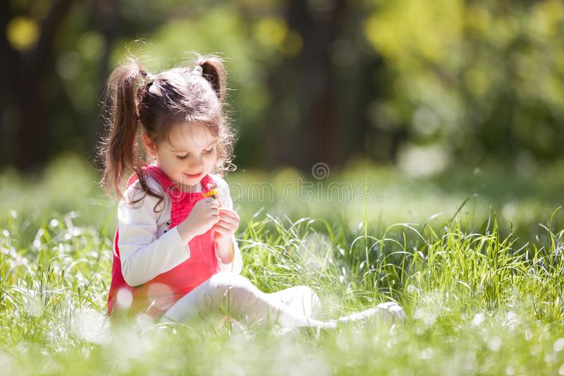Cute little girl play in the park with flowers. Beauty nature scene with colorful background at summer or spring season. stock image