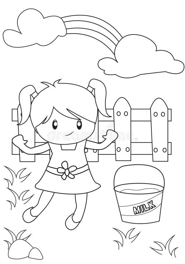 Cute little girl playing in the backyard coloring page. Useful as coloring book for kids vector illustration