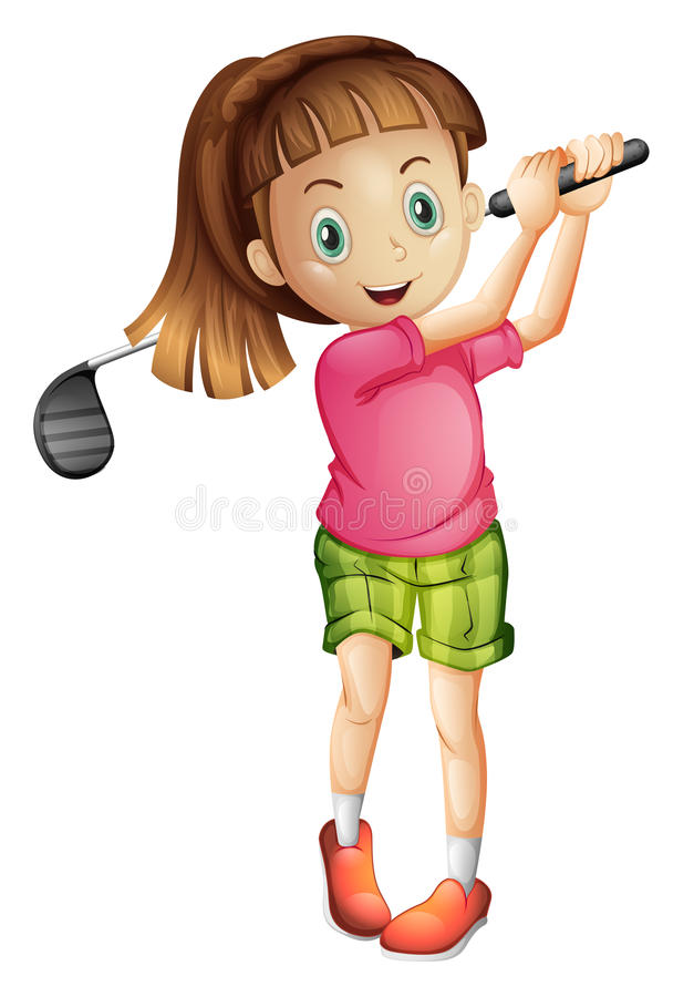 A cute little girl playing golf vector illustration