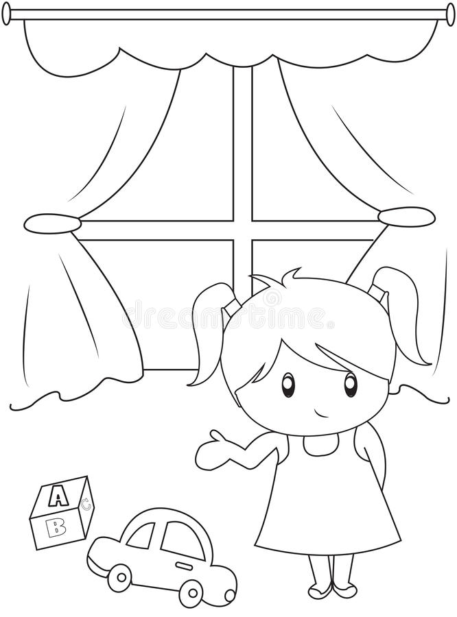 Cute Little Girl Playing Indoors Coloring Page Stock Illustration
