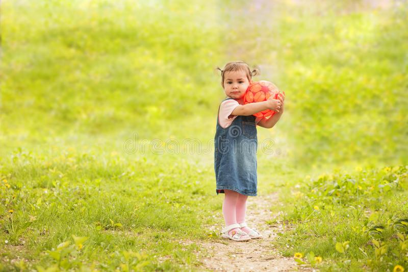 Cute little girl playing in park stock photo