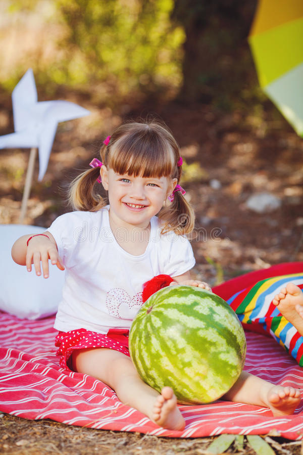 Download Cute Little Girl Playing In Summer Park. Outdoor Stock Photo - Image: 36269594