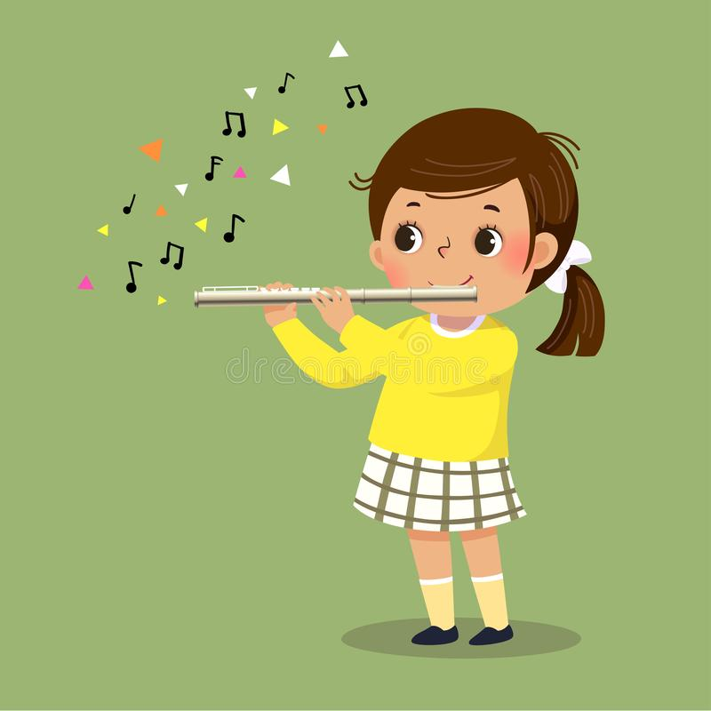 Free Cute Little Girl Playing The Flute On Green Background Stock Image - 155900211