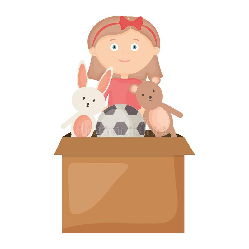 Adorable Little Girl Playing With Beach Toys During: A Young Girl Beside A Box Of Toys Stock Vector