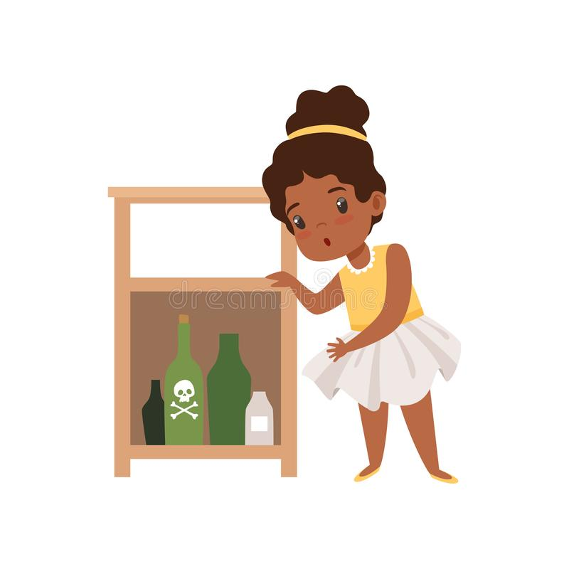 Free Cute Little Girl Playing With Hazardous Substances, Kid In Dangerous Situation Vector Illustration On A White Background Royalty Free Stock Image - 127099626