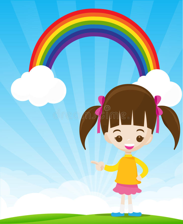 Cute little girl pointing the finger on sunburst and blue sky wi royalty free illustration
