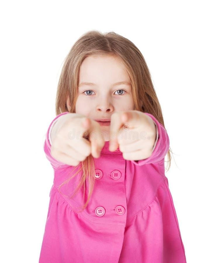Cute little girl pointing her finger stock image