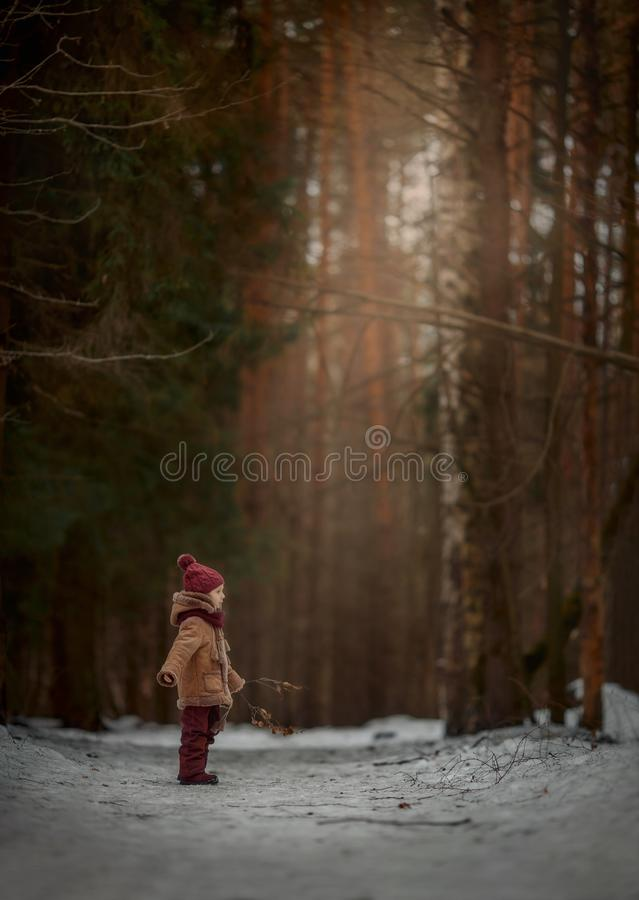 Cute little girl portrait in a spring forest at cloudy day stock photography