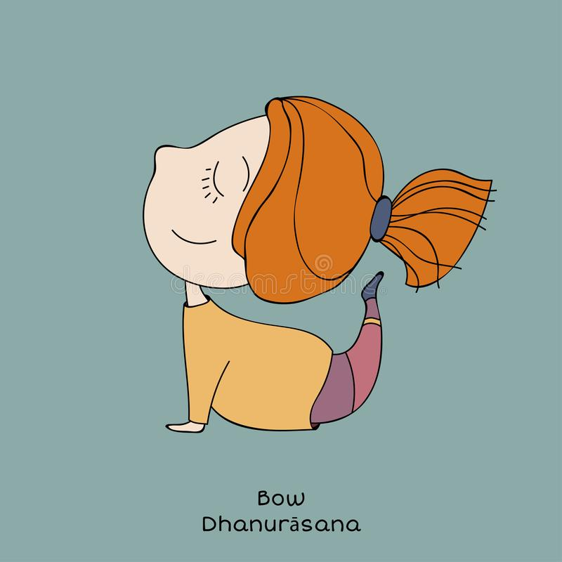 Kid yoga pose. bow vector illustration