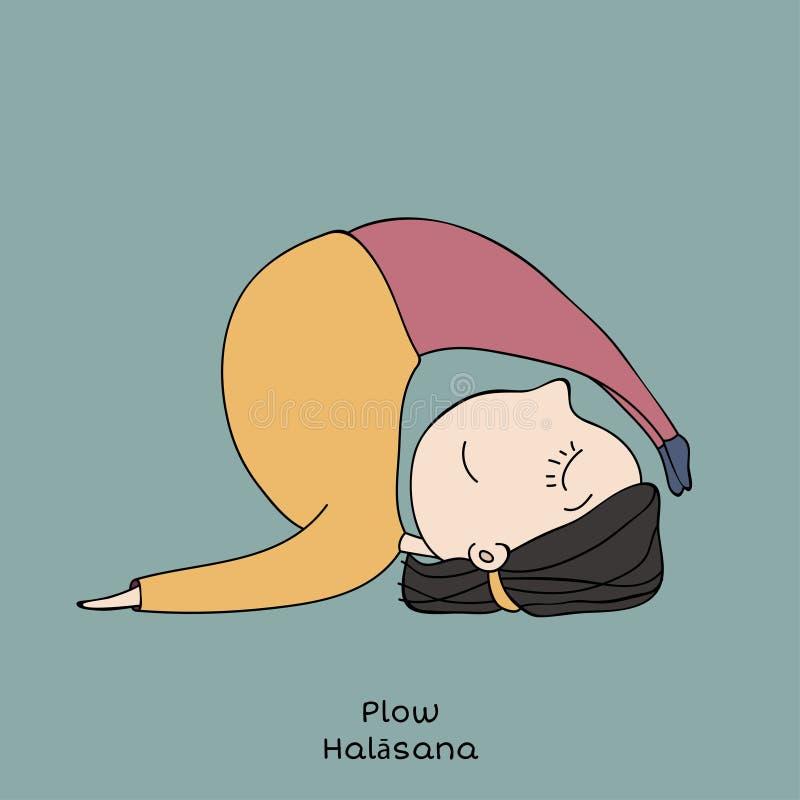 Kid yoga pose. plow vector illustration