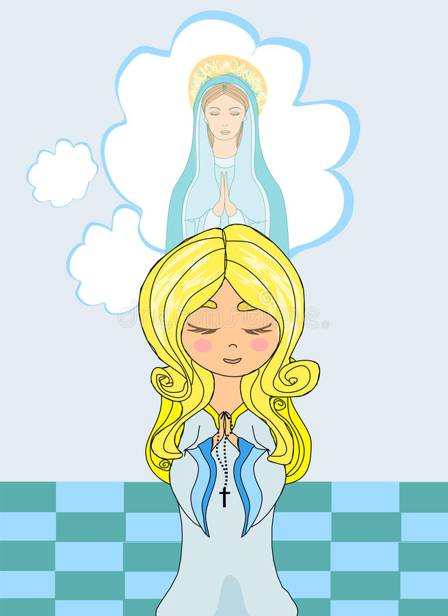 Cute Little Girl Praying To Blessed Virgin Mary Stock Photo