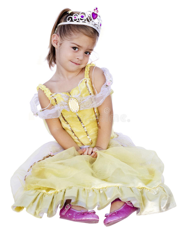 Cute Little Girl with Princess Dress On royalty free stock photography
