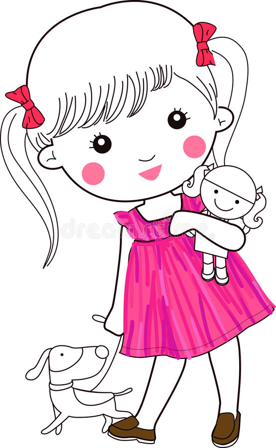 Cute little girl and puppy vector illustration