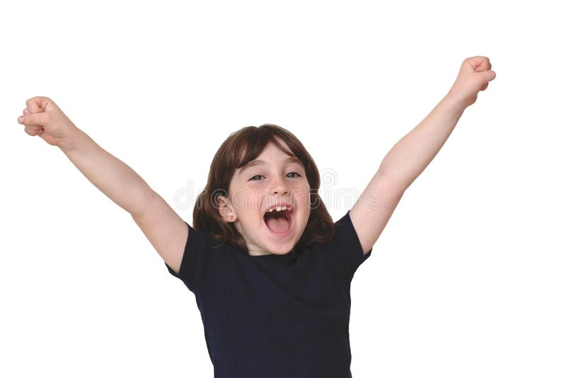Cute little girl raises her arms in a victo royalty free stock photos