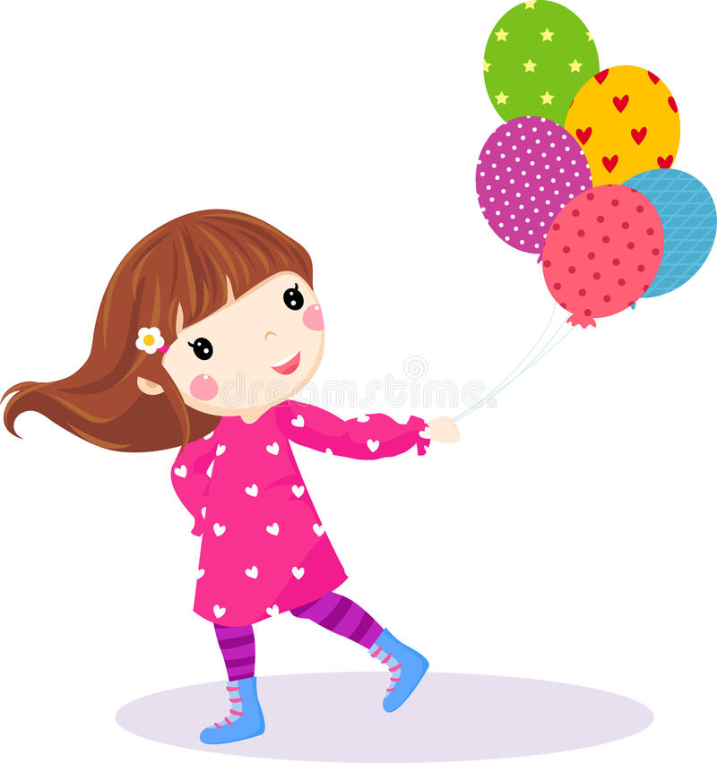 Download Cute Little Girl Running With Balloons Stock Vector - Image: 18520272