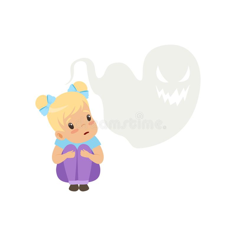 Cute little girl scared of ghosts, kids imagination concept vector Illustration on a white background stock illustration