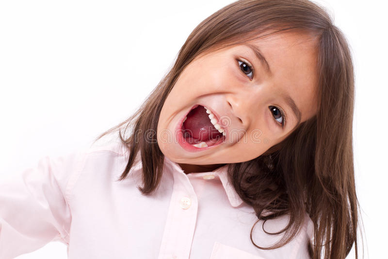 Cute little girl shouting, communication, announcing royalty free stock images