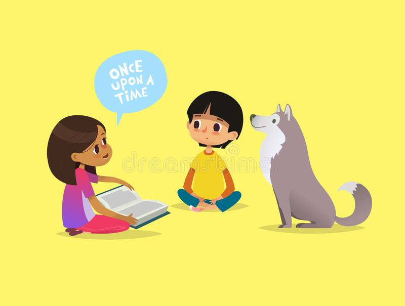 Cute little girl sits on floor and tells fairytale to her friend and pet dog. Kids reading fairy tales book. Concept of vector illustration