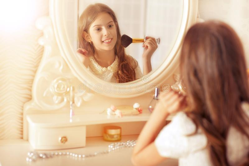 Download Little Girl Sitting At Dressing Table Stock Photo   Image Of  People, Fashion: