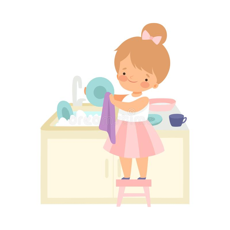 Cute Little Girl Standing on Chair and Washing Dishes, Adorable Kid Doing Housework Chores at Home Vector Illustration. On White Background vector illustration