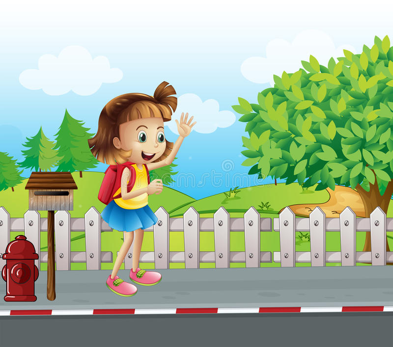 A cute little girl at the street beside the mailbox vector illustration