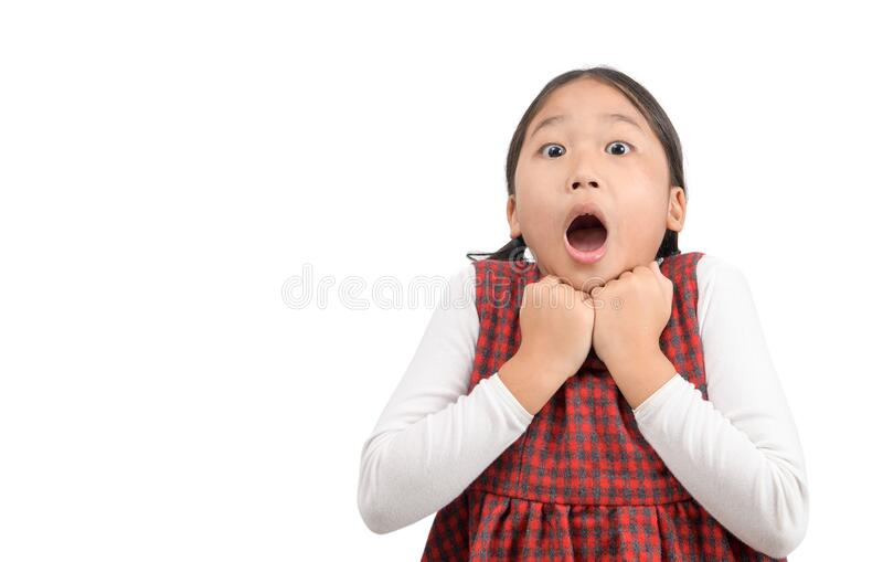 Asian girl surprised and shocked looks on you royalty free stock images