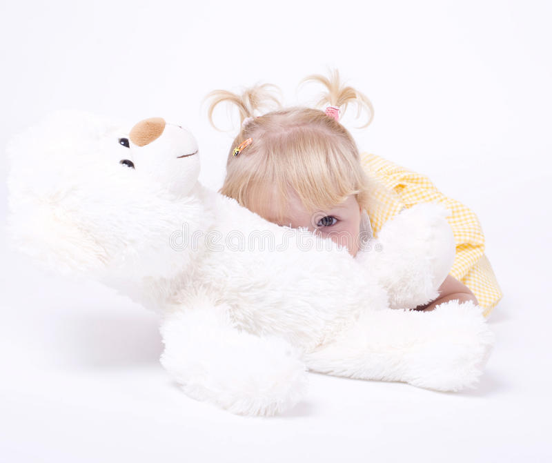 Download Cute Little Girl With Teddybear Stock Image - Image: 21123763