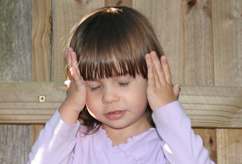 Cute Little Girl Thinking stock photos