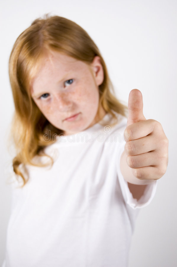 Download Cute Little Girl With Thumb Up Stock Photo - Image: 5237790