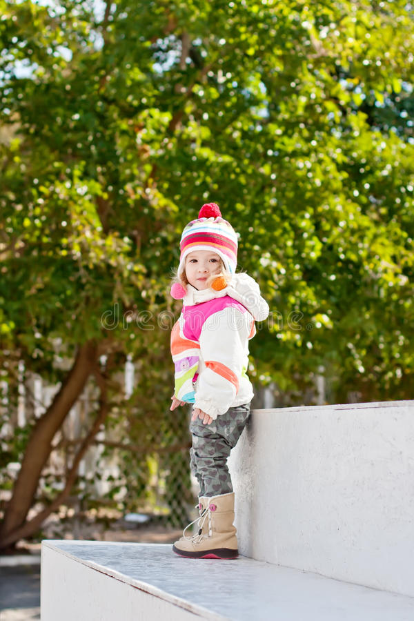 Cute little girl for a walk royalty free stock photography
