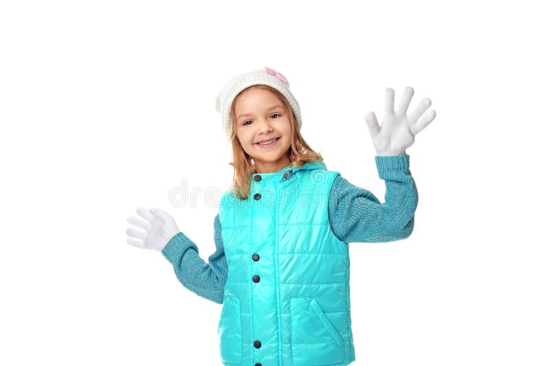 Cute little girl in warm clothes royalty free stock photography
