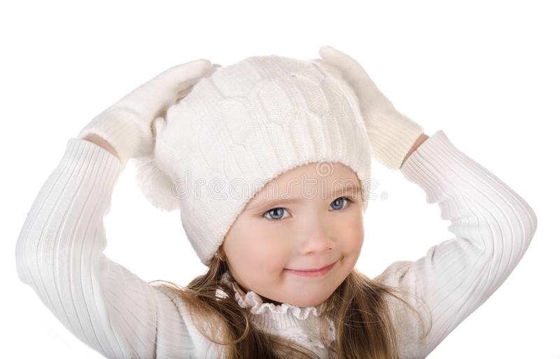 Download Cute Little Girl In Warm Hat And Gloves Isolated Royalty Free Stock Photos - Image: 28250298