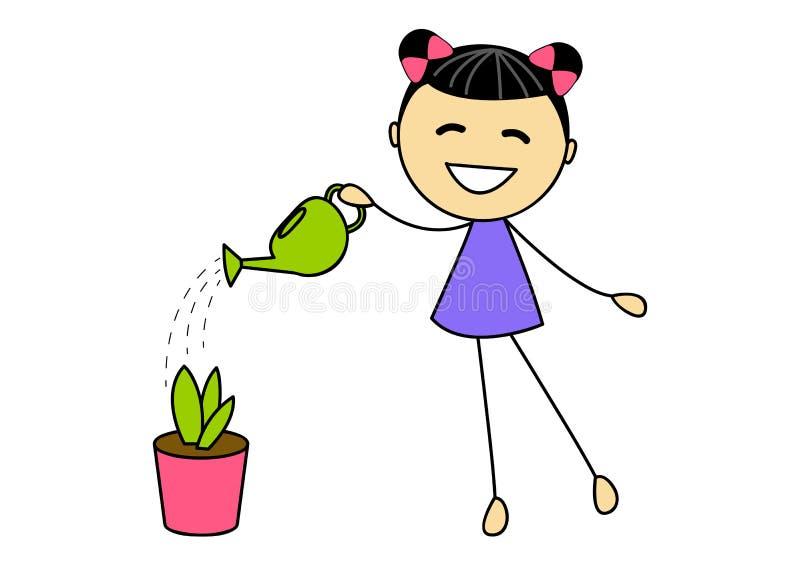 Cute little girl watering plant stock illustration