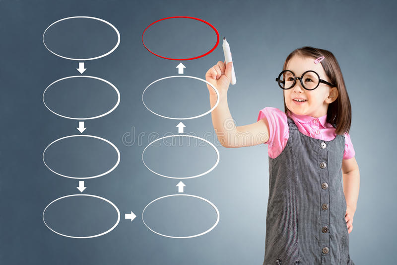 Cute little girl wearing business dress and drawing blank eight stage strategy flowchart. Blue background. Cute little girl wearing business dress and drawing stock image