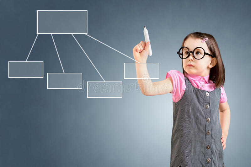 Cute little girl wearing business dress and drawing a flowchart 1. Blue background. Cute little girl wearing business dress and drawing a flowchart 1. Blue royalty free stock image