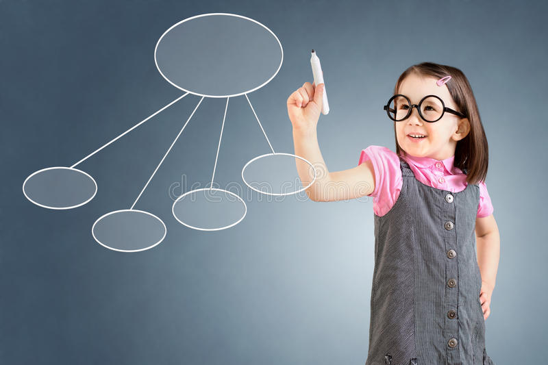 Cute little girl wearing business dress and drawing a flowchart 2. Blue background. Cute little girl wearing business dress and drawing a flowchart 2. Blue stock images