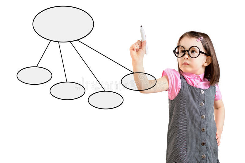 Cute little girl wearing business dress and drawing a flowchart 2. White background. Cute little girl wearing business dress and drawing a flowchart 2. White stock photography