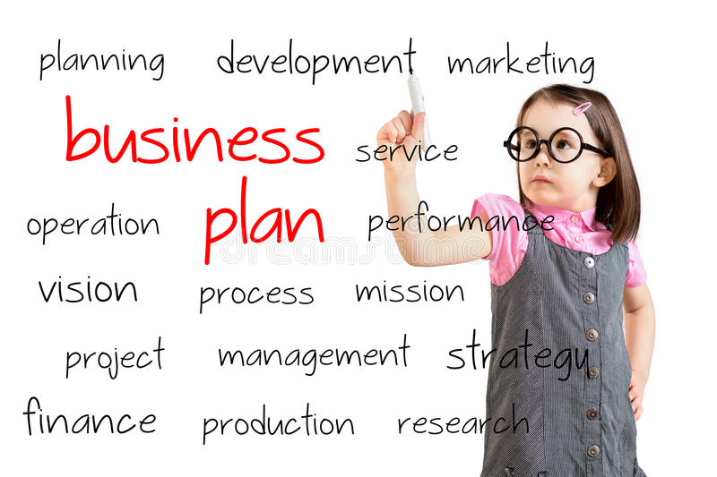 Cute little girl wearing business dress and writing business plan concept. White background. Cute little girl wearing business dress and writing business plan stock image