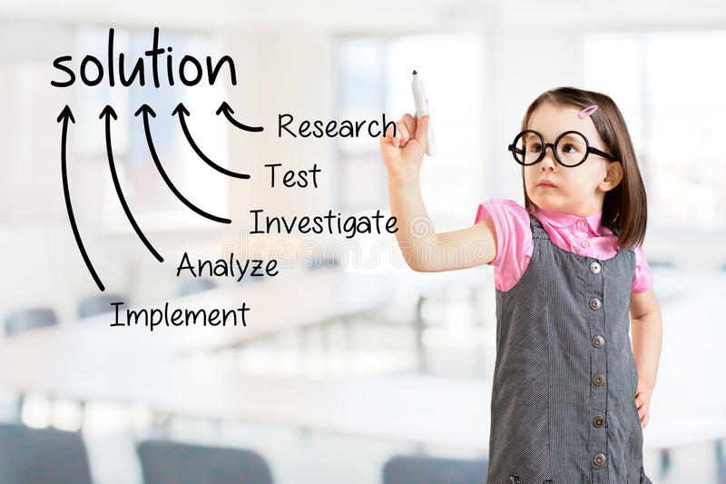 Cute little girl wearing business dress and writing solution finding method. Office background. Cute little girl wearing business dress and writing solution stock image