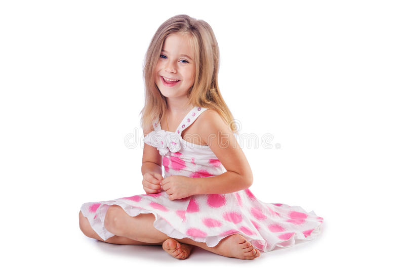 Cute Little Girl   On White Stock Image