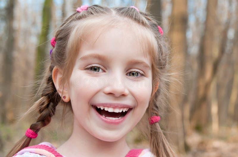 Cute little girl on the wood stock photos