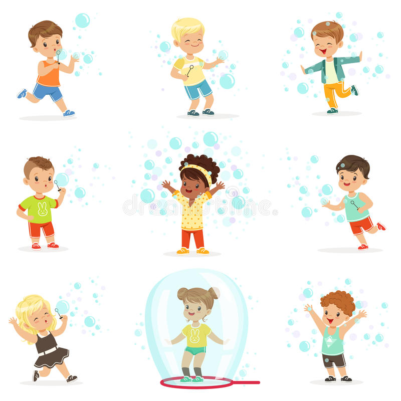 Cute little girls and boys blowing and playing soap bubbles royalty free illustration