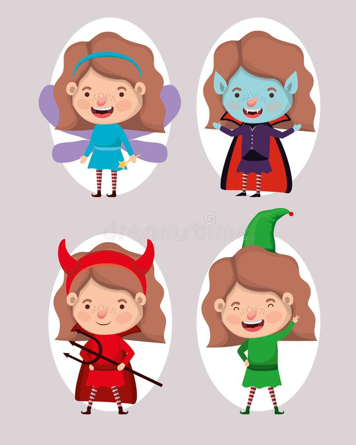 Cute little girls with different costumes. Vector illustration design stock illustration