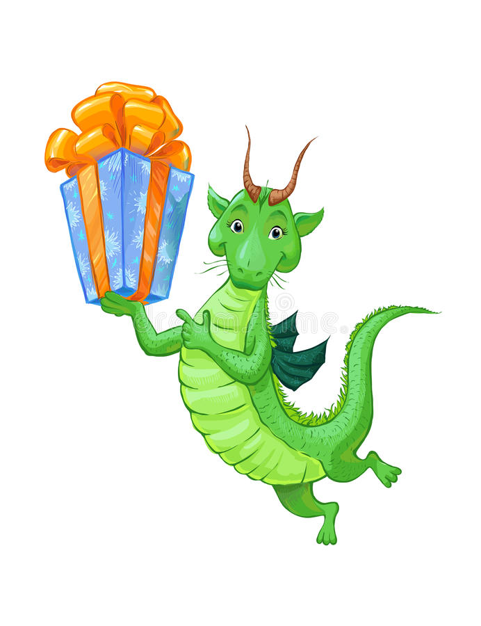 A cute little green dragon with a gift. Cartoon sketch vector illustration