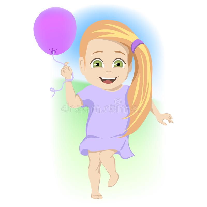 Cute little green-eyed blond girl dancing with a party balloon laughing and enjoying herself outdoors in a colorful stock illustration