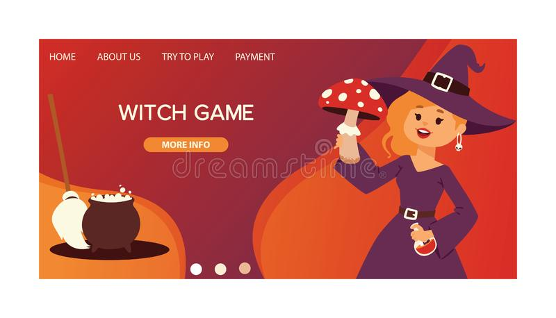 Cute little Halloween girl witch with amaita mushroom cartoon happy Halloween greeting invintation poster card party. Design print magic card fantasy young royalty free illustration